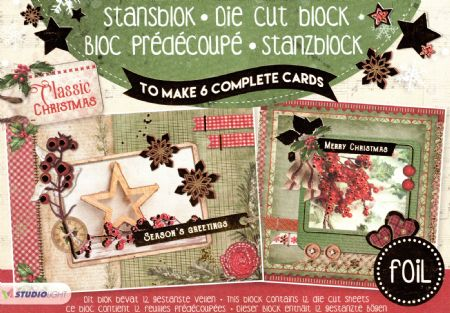 Classic Christmas 3d Gold Foil Die Cut Decoupage A5 Block  By Studio Light